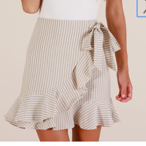 Showpo. Dresses & Skirts - ✨ Come closer wrap skirt in beige stripe showpo